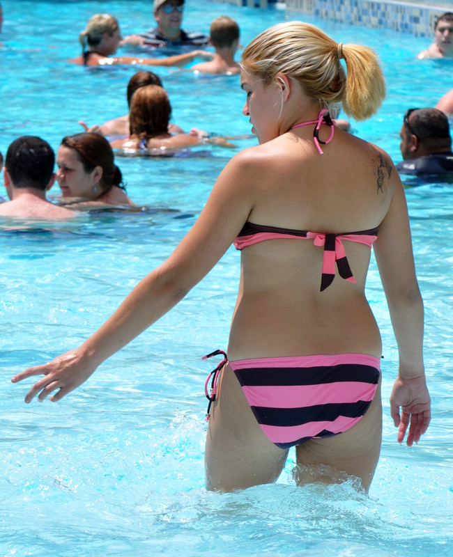waterpark girl in striped bikini