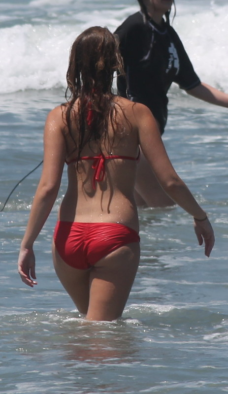 beach hottie in red bikini