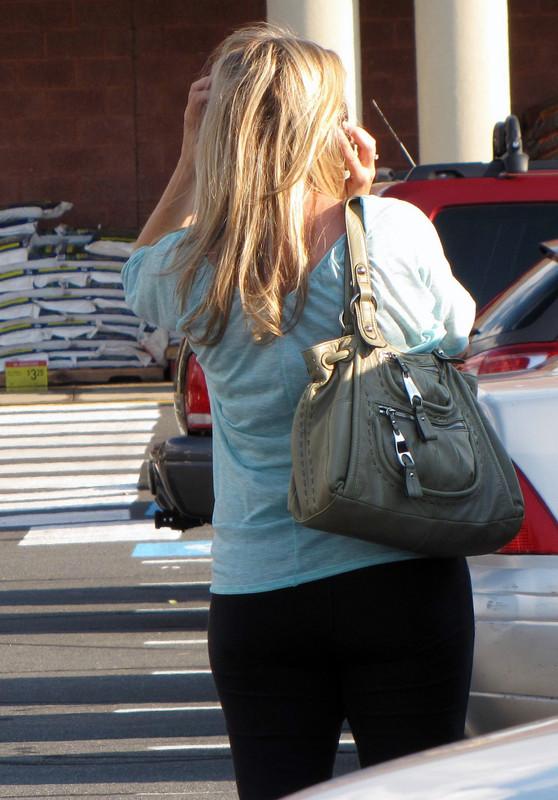 blonde milf in black leggings