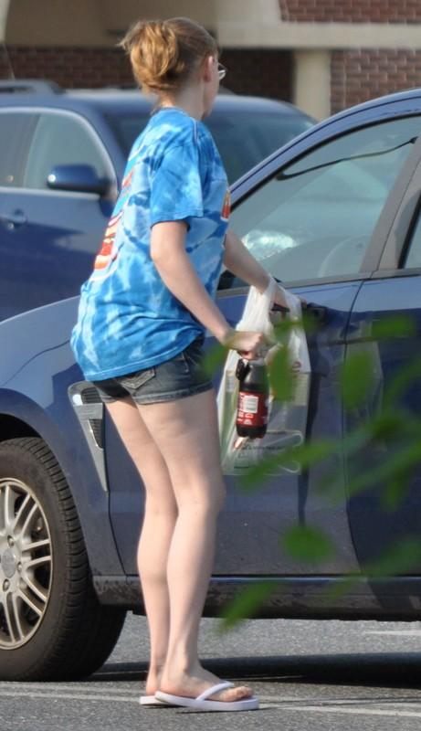 lovely teen lady in denim shorts