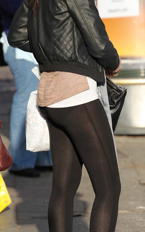 cute college teen in see through black leggings