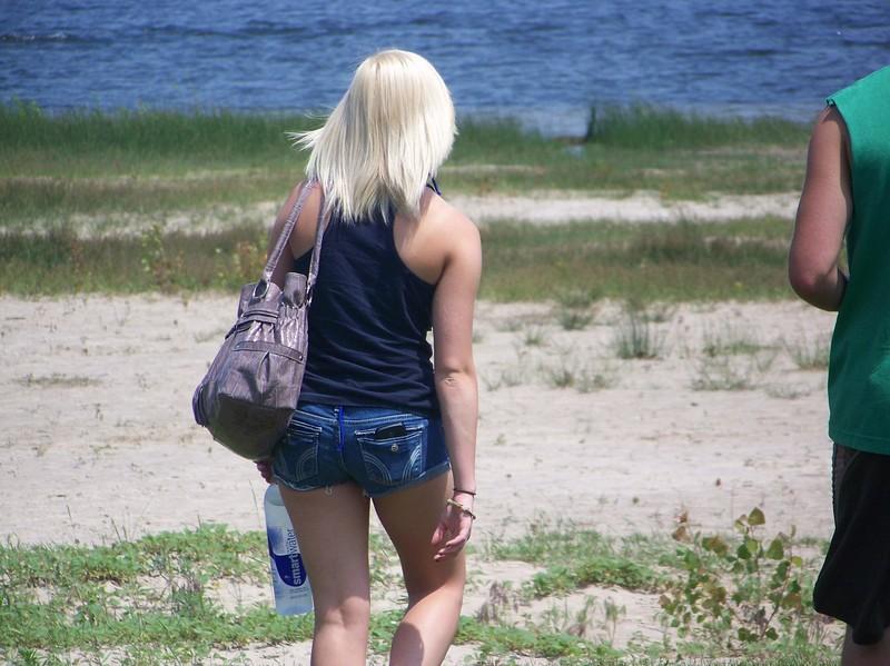 stunning blonde in striped bikini & denim shorts