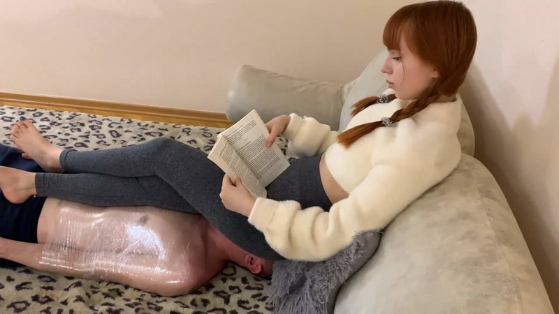 Petite Princess Femdom - Nerdy Girl With Pigtails And Leggings Reading A Book While Ignoring Fullweight Facesitting Long Time On Mummified Chair Slave [FullHD 1080P]
