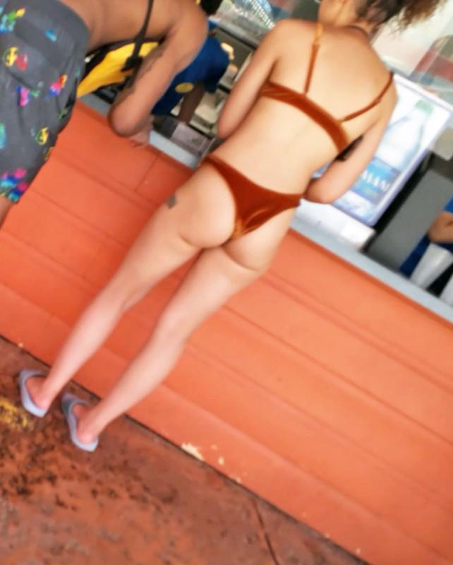 beach cafe booty wearing bikini