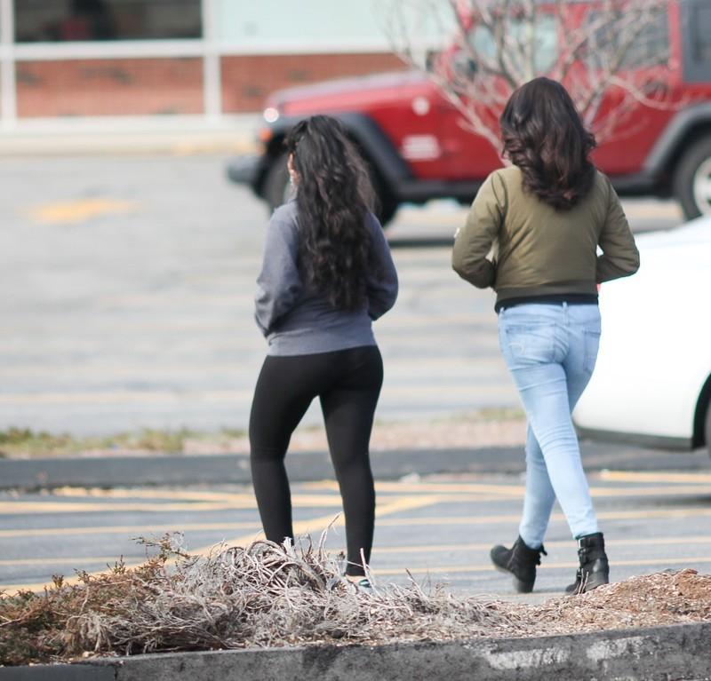 2 lovely girls in jeans & leggings