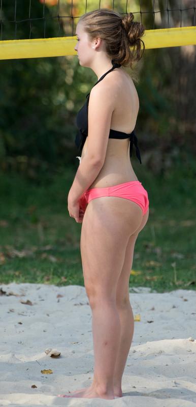 city park volleyball girls in bikini
