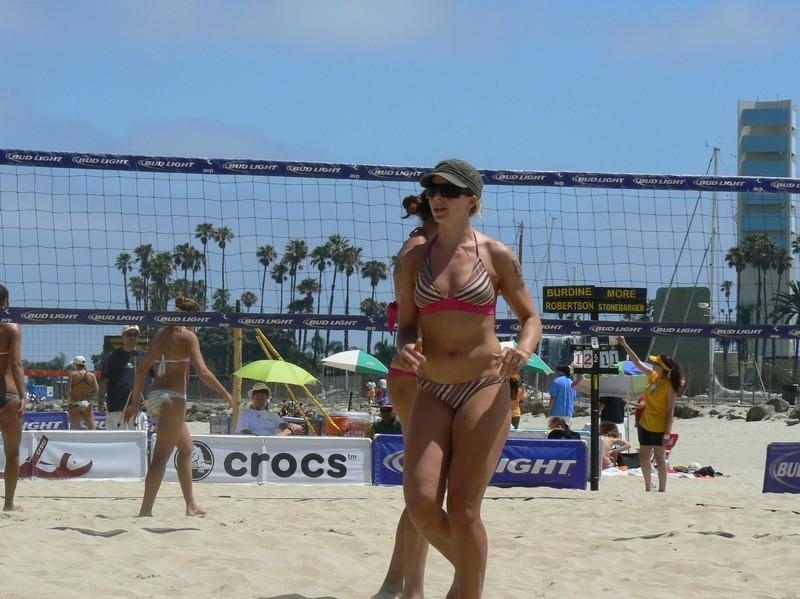 beach volleyball girls in pretty bikinis