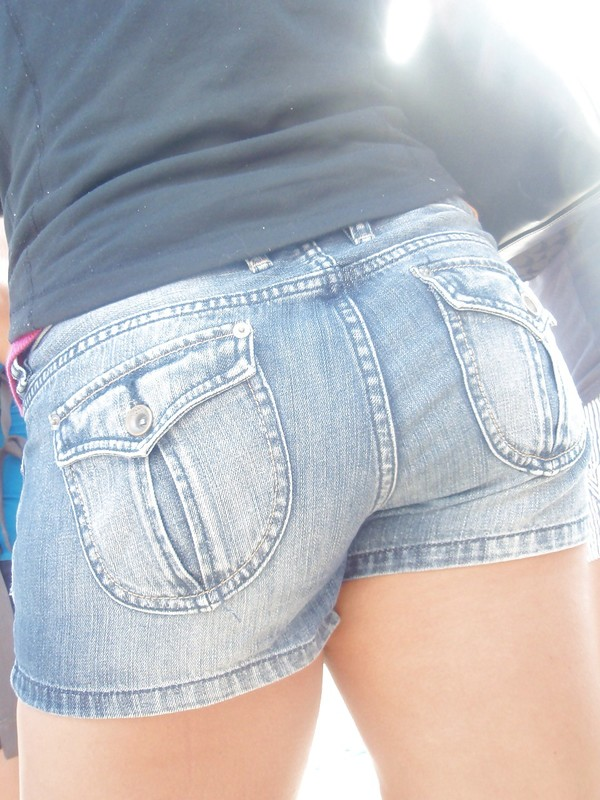 close up of hottie ass in jean shorts