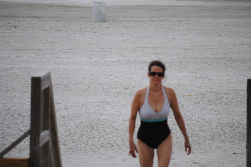 hot swimsuit milf at the beach