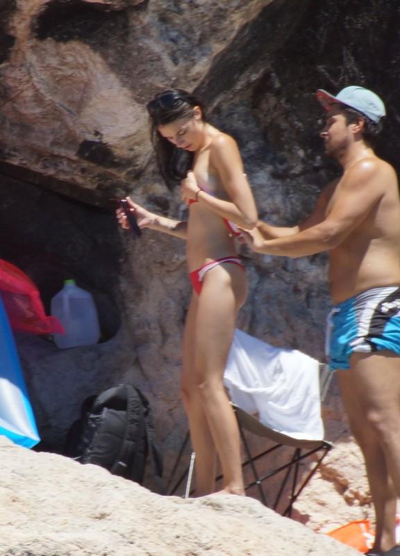 skinny babe in sexy red bikini