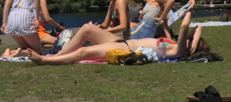 sexy pale redhead lady at the lake
