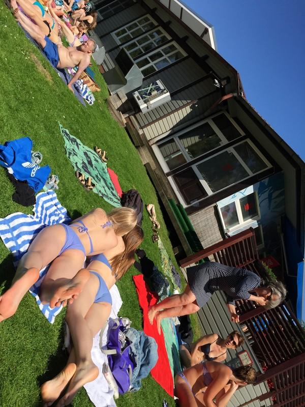 bikini teens in summer city park