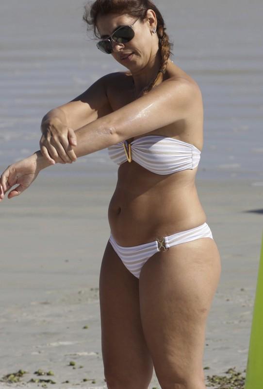 seductive thick lady in white bikini