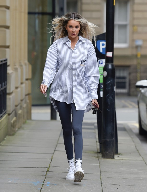 leggy babe Olivia Attwood in tight lycra pants