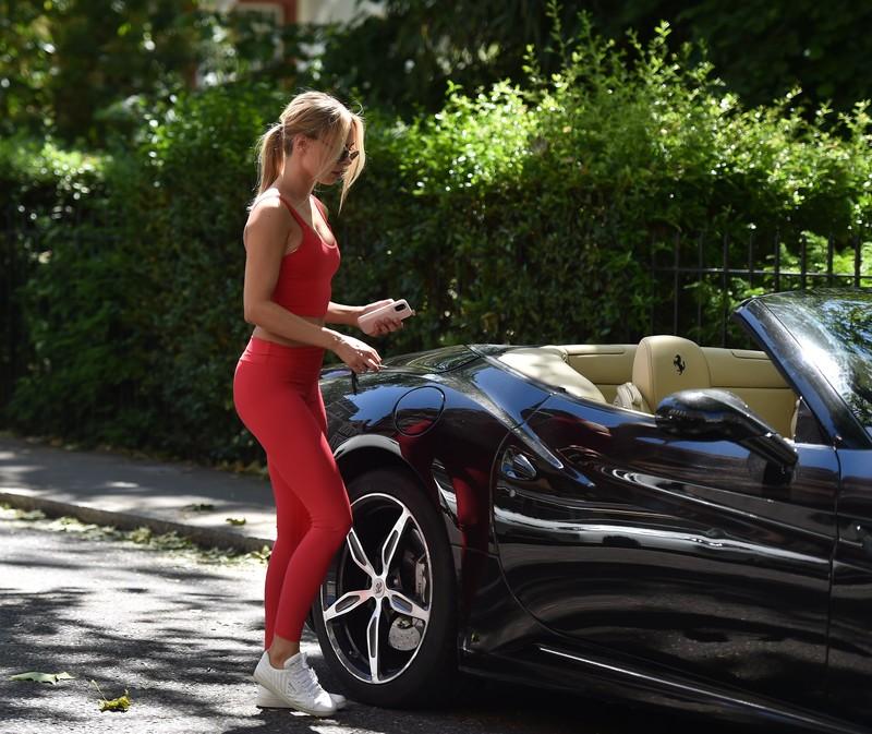 hot athlete chick Kimberley Garner in red sportswear