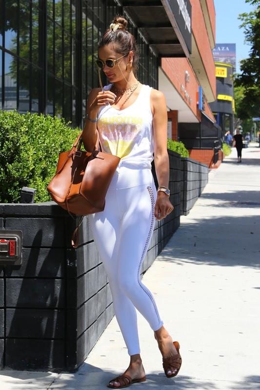 gorgeous milf Alessandra Ambrosio in white leggings