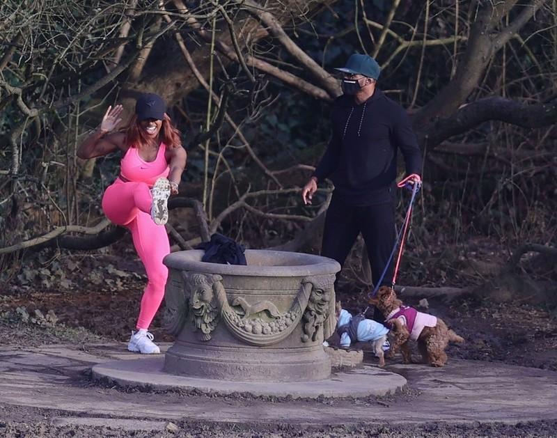 ebony hottie Alexandra Burke in pink nike fitness uniform