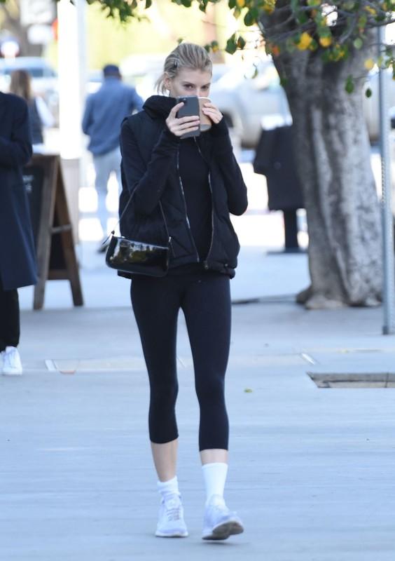 lovely model Charlotte Mckinney in black lycra pants
