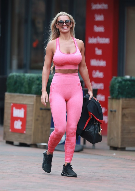 blonde hottie Christine McGuinness in tight gym outfit