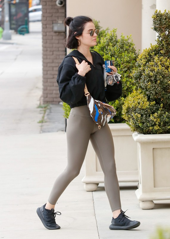 amazing babe Lucy Hale in candid leggings