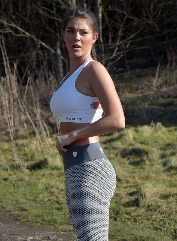 beautiful babe Rebecca Gormley in sexy fitness uniform