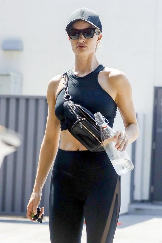hot model Rosie Huntington Whiteley in black gym uniform