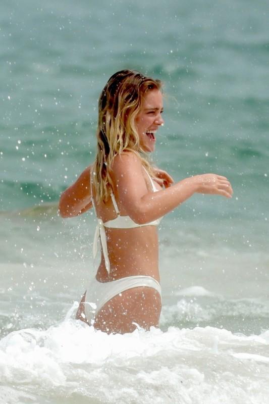 passionate girl Georgia Gibbs in wet sexy white bikini