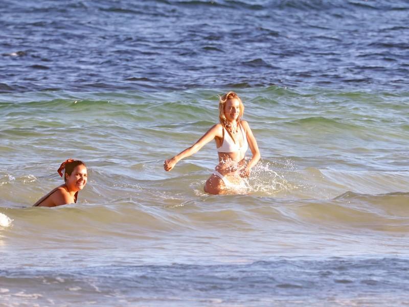 attractive babe Maya Stepper in white bikini