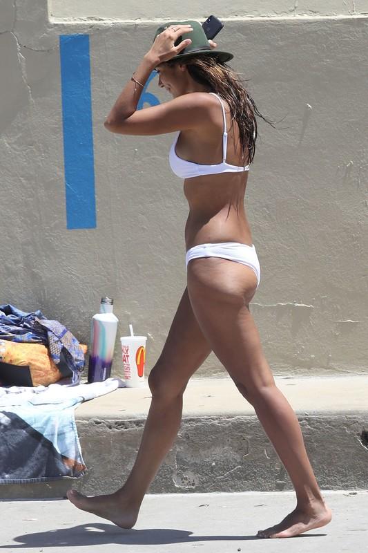 beautiful babe Pia Miller in white bikini & denim shorts