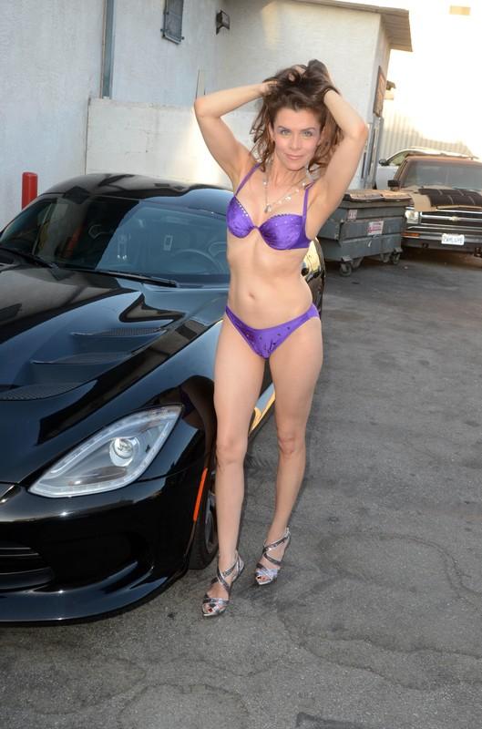 hot milf Alicia Arden with purple bikini & Dodge Viper