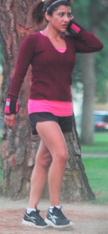 city park jogger lady in shorts