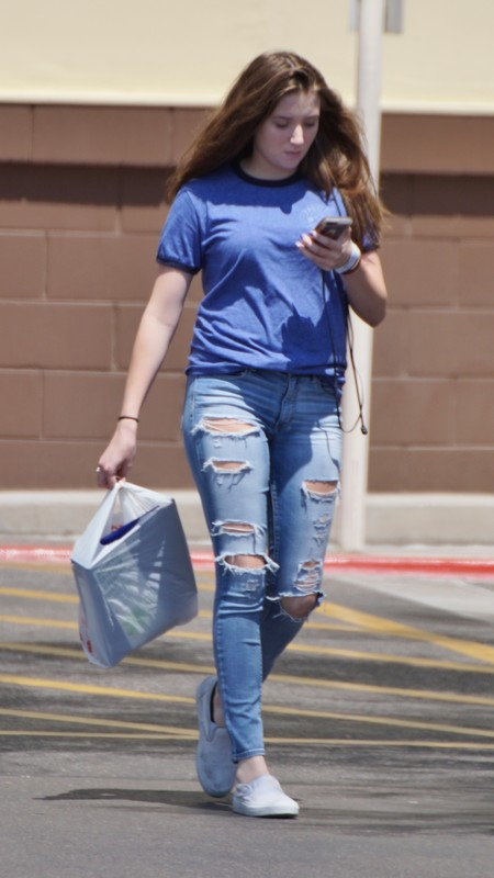 adorable chick in denim jeans
