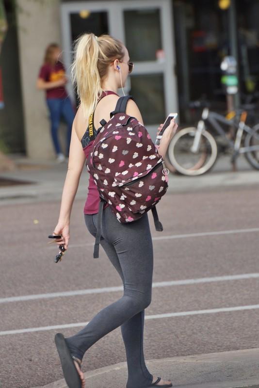 blonde coed teen in tight yogapants