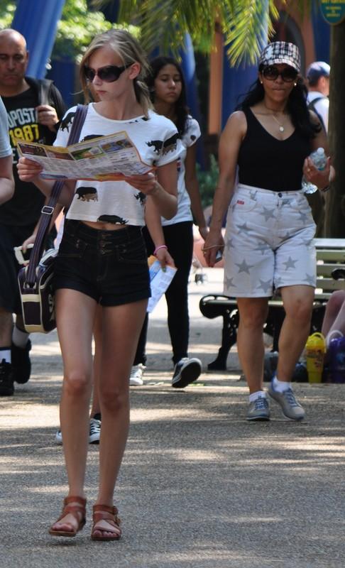 skinny babe in sexy shorts