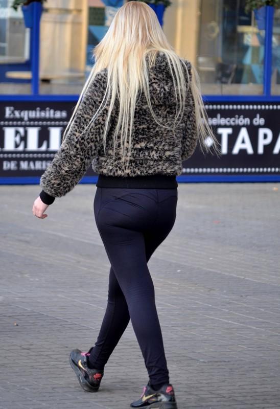 blonde college teen in navy blue yoga pants