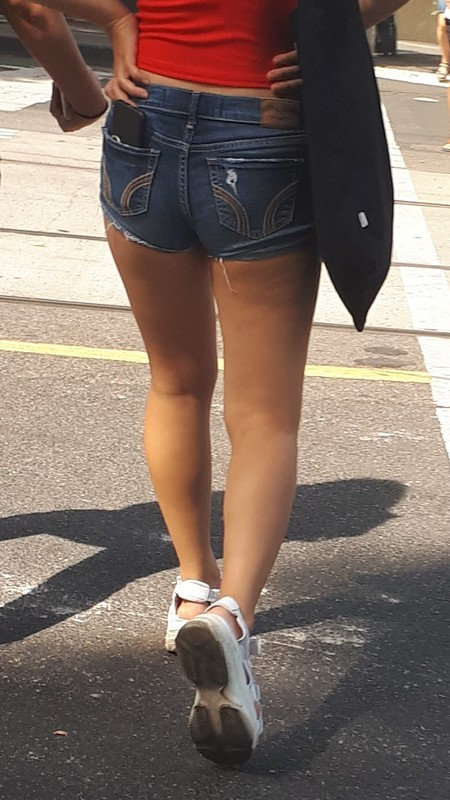college honey in denim shorts