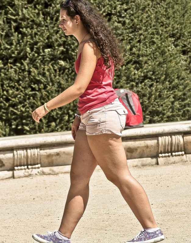 chubby lady in sexy shorts